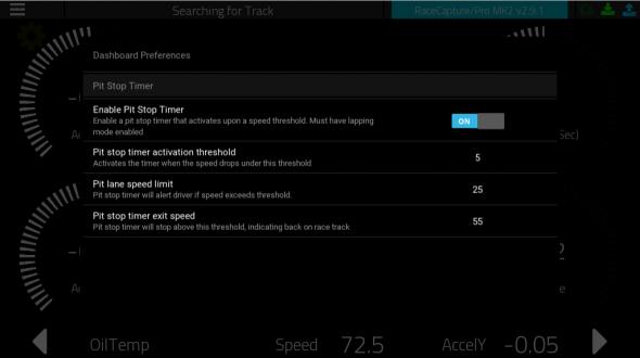 Pit stop timer configuration
