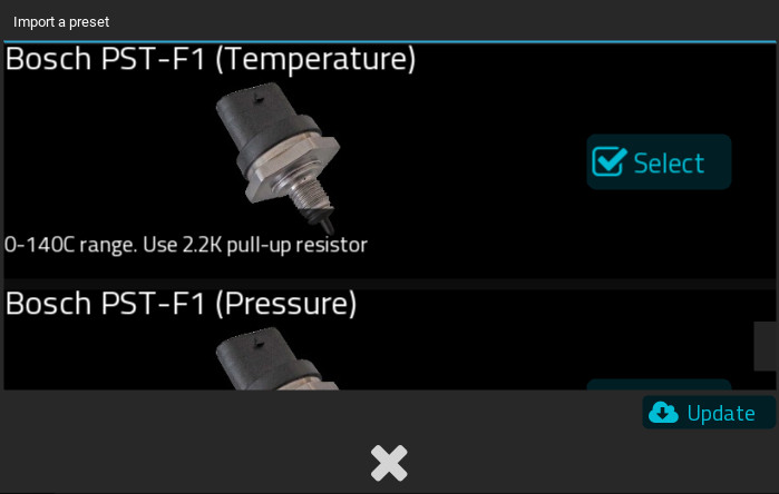 New Analog Preset for Bosch PST-F1 combination Pressure and temperature sensor
